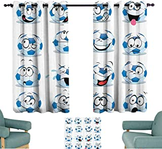 Sports Decor Collection Sliding Curtains Cartoon Soccer Ball with Many Expressions Bored Laughing Happy Smiley Image Noise Reducing 63