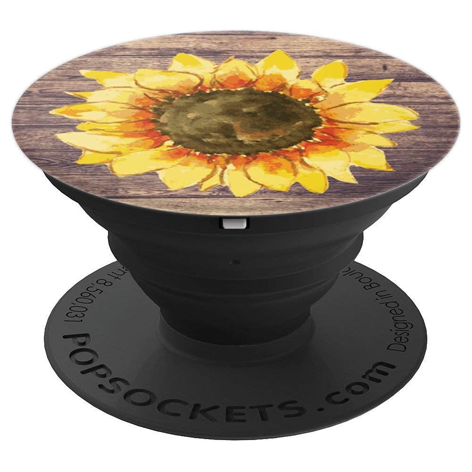 Sunflower Pretty Yellow with Rustic Barn Wood Background - PopSockets Grip and Stand for Phones and Tablets