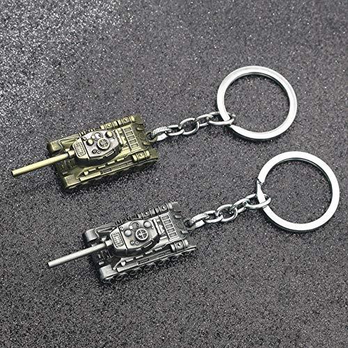 UIXIYIMG Panzer Schlüsselbund 46G Schwere Punkwaffe 3D Panzer is-Serie Schlüsselanhänger Schlüsselanhänger Ringe Für Männer Autohalter Schlüssel, Antike Bronzeplatte