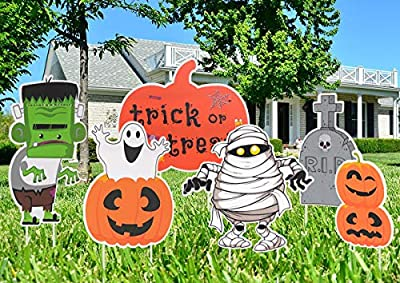 FUNNISM 6 Pack Halloween Decorations Yard Sign with Stake,Family-friendly Halloween Trick or Treat Party Decoration Prop,Halloween Pumpkin/Ghost/Monster Lawn,Sidewalk,Garden,Porch,Yard Sign Decoration