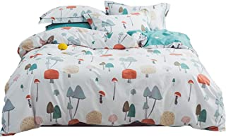 LAYENJOY 100% Cotton Kids White Duvet Cover Set Twin Multicolor Cartoon Mushroom Forest Pattern Bedding Set for Teens Boys Girls, 1 Duvet Cover 2 Pillowcases Colorful Comforter Cover, No Comforter