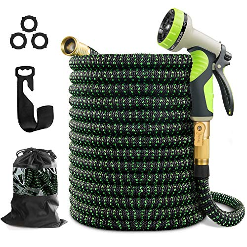 wyewye Expandable Garden Outdoor Water Hose 100 ft for Yard Mangeras Flexible 100ft de Agua with 3/4  Solid Brass Fittings 10 Function Spray Nozzle 100  Foot Garden Hose for All Your Watering Need