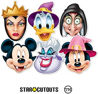 Star Cutouts SMP68 6 Pack Witch & Wicked Official Mickey Vampire/Minnie Donald Wizard/Ursula Witch/Wicked Queen Disney Halloween Party Mask, Brown, One Size