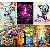 6 Pcs 5D Diamond Painting Kits Full Drill, Giraffe, Cat, Elephant, Dandelion, Four Seasons Tree,...