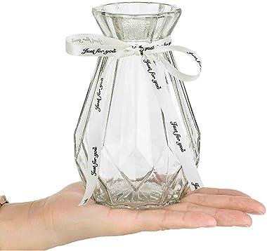 ガラス花瓶 おしゃれ花器 フラワーベース 一輪挿し フラワーベース可愛い 花びん かびん 飾り瓶 北欧 レトロ風 リボン付き (透明)-15cm