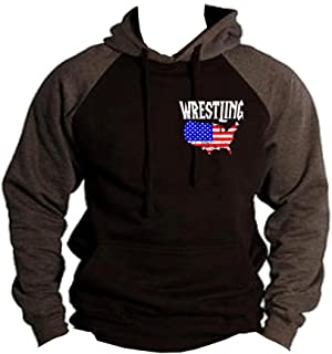 Interstate Apparel Men's Wrestling American Flag Map Black/Charcoal Raglan Baseball Hoodie Sweater Black