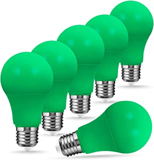 A19 Green LED Bulbs, JandCase Holiday Lights, 8W(60W Equivalent), 400LM, Decorative Lighting for Halloween, Christmas, E26 Base, Not Dimmable, 6 Pack