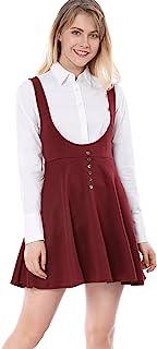 Allegra K Women's Solid Button Decor Flared Hem Overall Dress Suspender Skirt