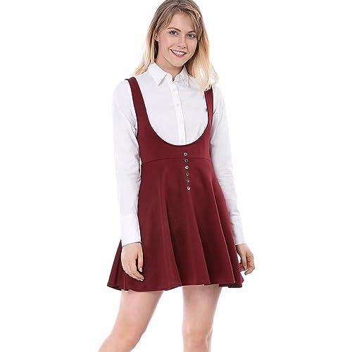 ab3f2f9569 Allegra K Women s Solid Button Decor Flared Hem Overall Dress Suspender  Skirt