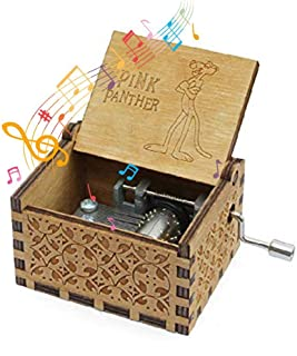 MOGOI Wooden Music Box, The Pink Panther Antique Carved Hand Crank Wood Music Box Gifts for Kids Children