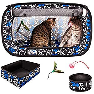 CHEERING PET, Stress Free Cat Cage, Portable Cat Condo Cage, Collapsible Travel Litter Box, Foldable Feeding Bowl, Feather Teaser and Ball, Carrying Bag, Extra Large 32″ X 19″ X 19″ (Floral)