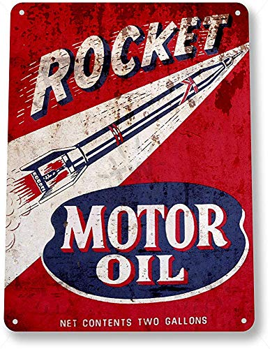 TIN SIGN B902 Raket Motorolie Gas Olie Garage Auto Shop Rustieke Metalen Decor Metalen Blik Teken 8X12 Inch