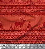 Soimoi Rot Baumwolljersey Stoff Stickereiart Weihnachten