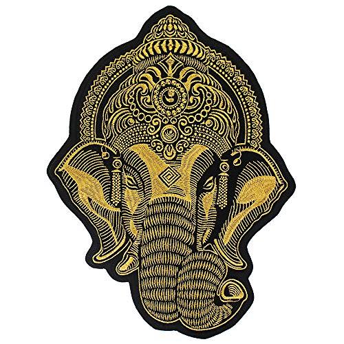 Große Ganesha Elefantenkopf-Stickerei, zum Aufbügeln auf Jacke, Biker, Scrapbooking, 1 Stück gold