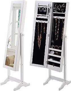 GOFLAME Jewelry Cabinet, Jewelry Organizer with Full Length Mirror Door, Standing Makeup Mirror Cabinet, Freestanding Jewelry Organizer with Large Storage Capacity (White)
