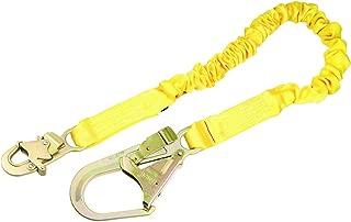 3M DBI-SALA Shockwave 2, 1244321 6' Shock Absorbing Lanyard, Tubular Web, Steel Rebar Hook On Leg End, Snap Hook On Other, Yellow