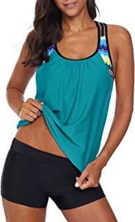 Womens Blouson Striped Printed Strappy T-Back Push up Tankini Top with Shorts