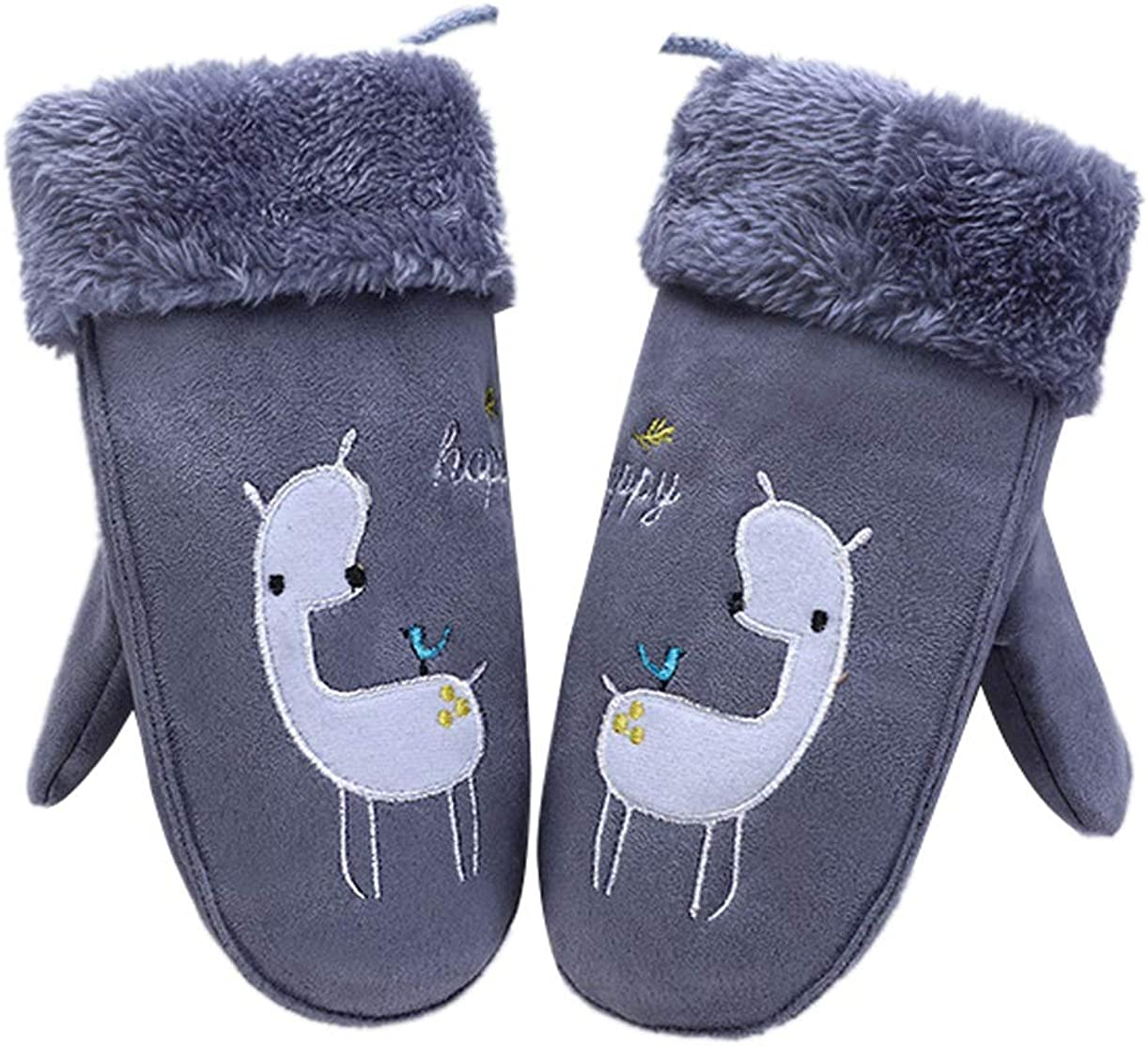 YueLian Little Girl's Alpaca Pattern Fur Lining Cold Weather Mitten Gloves