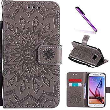 Galaxy S6 Case,LEECOCO Fancy Embossed Floral Pattern Wallet Case with Card/Cash Slots [Kickstand] Shockproof PU Leather Flip Case Cover for Samsung Galaxy S6 Mandala Gray