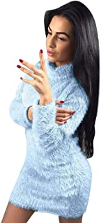 ✫Turtleneck Solid Cashmere Dress,Women Casual Daily Long Sleeve Tops Mini Dresses