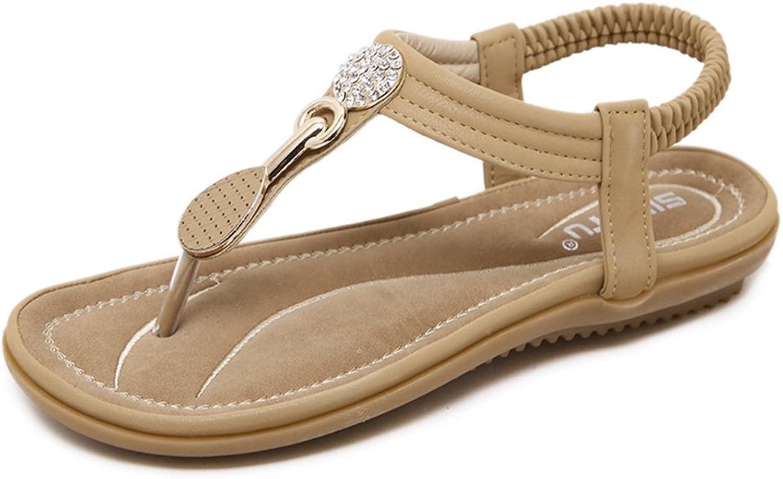 U MAC kvinnor Rhinestone CZ -embellished Slip on on on T -Strap Bohemia Beads kvinnor skor sommar strand Holiday  hög kvalitet och snabb frakt