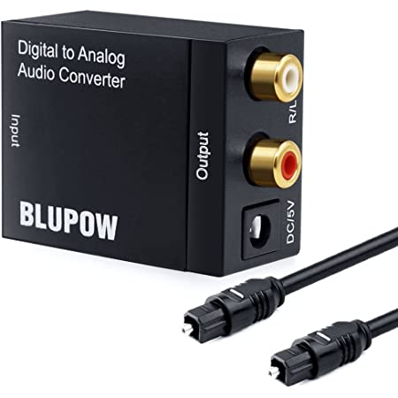BLUPOW 192KHz対応 デジタル(光&同軸)→アナログ(RCA) オーディオ変換器 DAC オーディオコンバーター 光デジタル アナログ 変換器 同軸 変換 Digital to Analog Converter 光ケーブル付き VA17