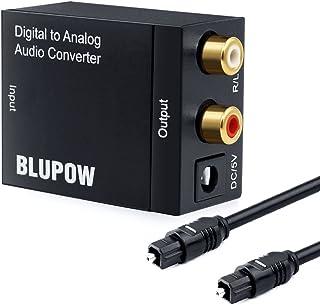 BLUPOW DACデジタル(光&同軸)→アナログ(RCA) オーディオ変換器 変換コネクター オーディオコンバーター 光デジタル アナログ 変換器 同軸 変換 Digital to Analog Converter 光ケーブル付き VA17