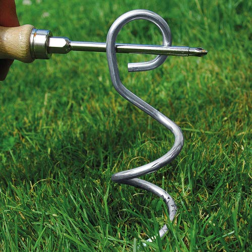 bellissa 2 er Set- hochwertige ERD-Anker & Bodenanker Metall verzinkt für den Garten – Erdhaken & Einschraubanker 25 cm lang
