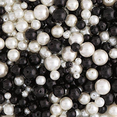Perlas de Vidrio Negro y Blanco con Pearl Tratamiento 4mm 6mm 8mm y 10mm cuentas. 490 piezas. Para fabricación de Joyas y Artes y Manualidades