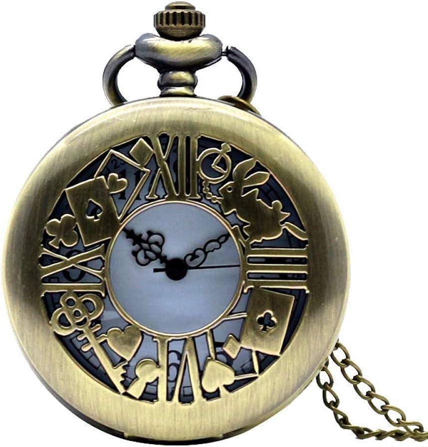 LLGBD Accessories/Regalos de Reloj de Bolsillo de Bronce Antiguo para Las Mujeres Dama niña Cuarzo Hermoso Collar con Cadena