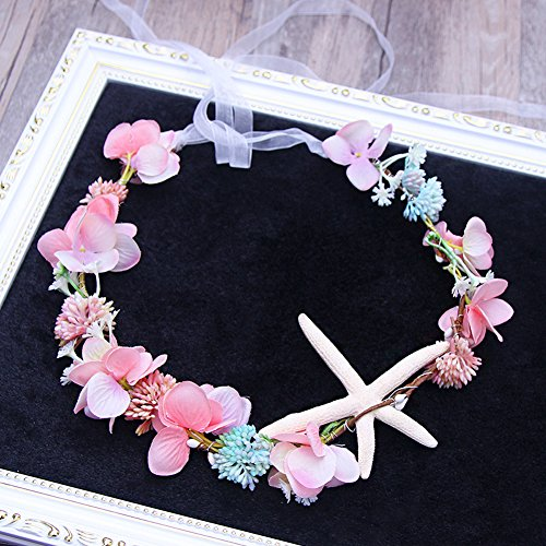 Scala Brand Bridal Hair Accessories Handmade Headband Beach Starfish Flower Wreath Bride Handmade Wedding Garland Soft Pearl Hair Jewelry (Pink-Starfish)