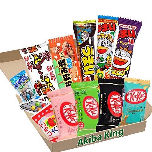 Kit Kat mini chocolate & trial Japanische Dagashi Box Umaibo Snack-Kartoffelchips mit AKIBA KING-Aufkleber