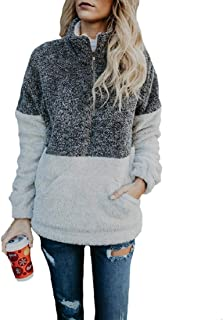 Womens Long Sleeve 1/4 Zip Fuzzy Pullover Outwear Sweatshirt Sherpa Jacket Coat