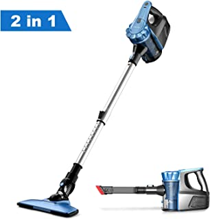 Cordless Stick Vacuum, Lightweight 2 in 1 Handheld Vacuum Cleaner Battery Rechargeable Two Speeds Suction Power Detachable Bagless Hand Vacuum for Family and Car Cleaning
