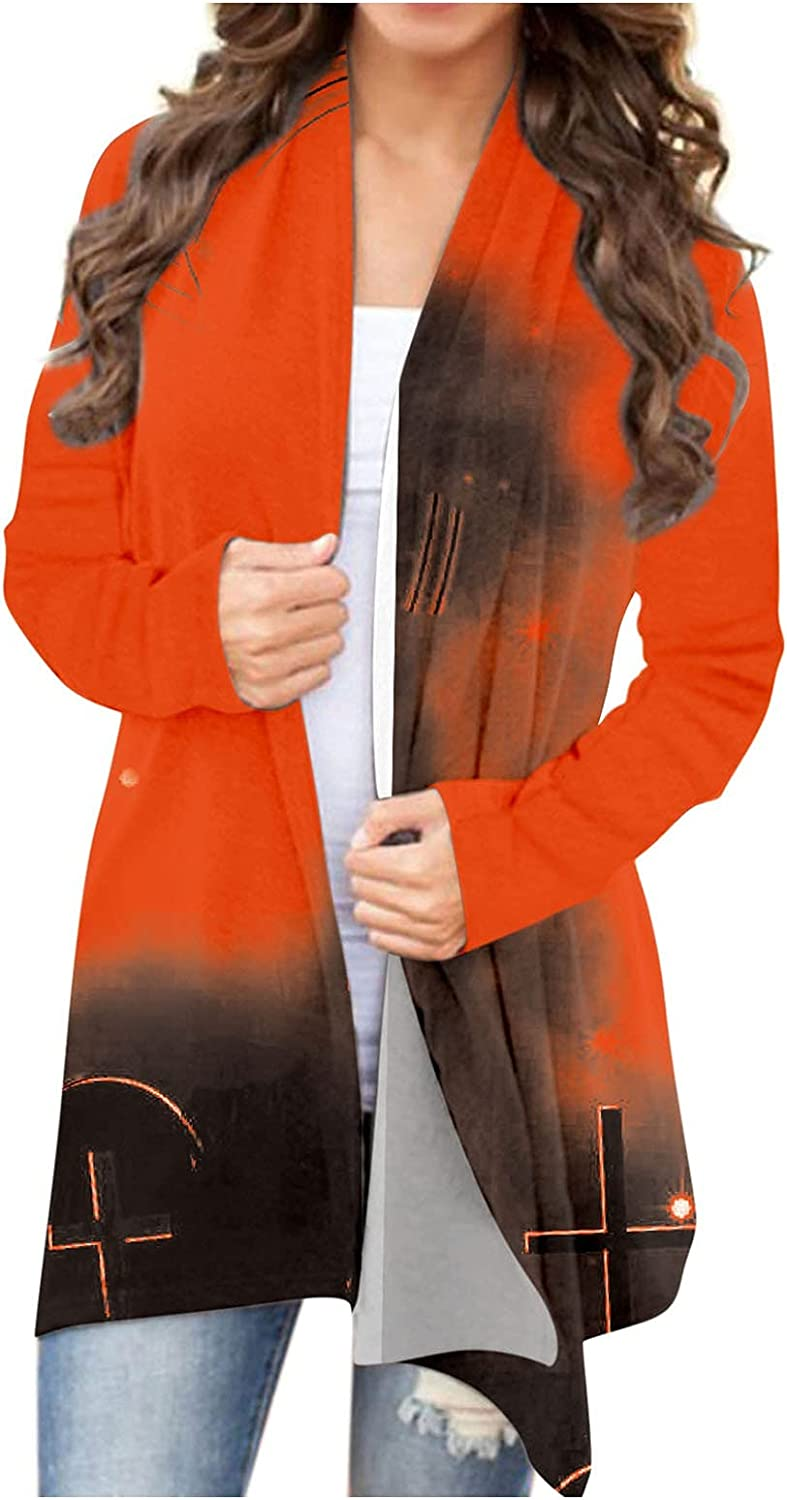 felwors Halloween Cardigan for Women, Funny Cute Pumpkin Ghost Graphic Coat Long Sleeve Open Front Blouse Outwear Tops