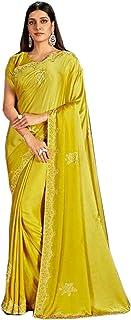 Designer Indian Yellow Cocktail Party Swarovski Embellished Saree Blouse Woman Sari 6584
