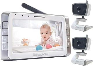 مانیتور ویدئویی کودک با 2 دوربین ، 5 اینچ صفحه نمایش بزرگ ، عمر باتری طولانی ، برد طولانی ، غیر WiFi ، خودکار دید در شب ، بحث برگشت ، اسکن خودکار ، لالایی ، صرفه جویی در مصرف برق ، VOX ، فعال سازی صدا ، 2 برابر بزرگنمایی