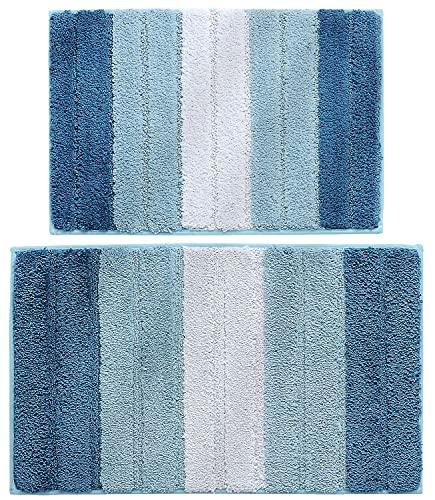 Inspireyee Lot de 2 Tapis de Salle de Bain rayés Tapis de Bain Tapis de Sol Shaggy en Peluche Absorbant Ultra épais et Doux en Chenille antidérapant pour la Cuisine (Bleu, 45x65 + 50x80)