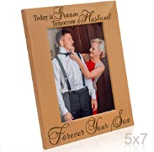 KATE POSH Today a Groom, Tomorrow a Husband, Forever Your Son Picture Frame - Engraved Natural Wood Photo Frame - Father of The Groom Gifts, Mother of The Groom Gifts (5x7-Vertical - Groom)