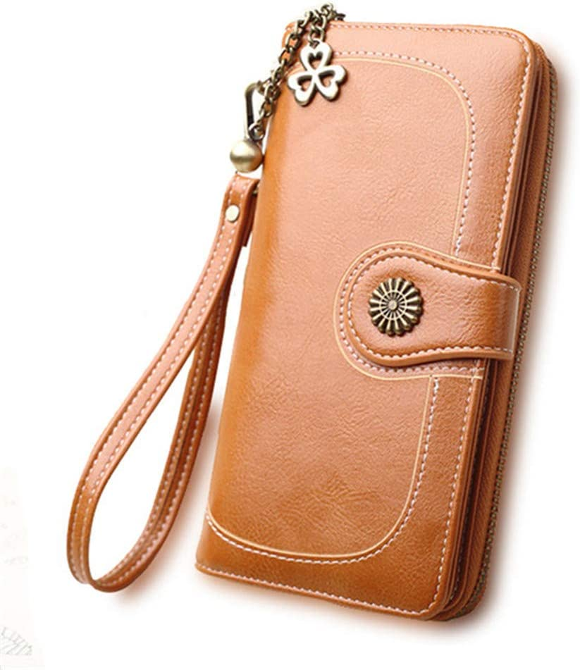 Women's Wallet New Oil Al sold Los Angeles Mall out. Wax Clutch Bag Lon Leather