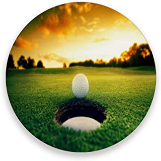 Sunset Sport Golf Ball Coasters, Protect Your Furniture From Stains,Coffee, Wood Coasters Funny Housewarming Gift,Round Cup Mat Pad For Home, Kitchen Or Bar 1 Piece