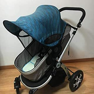 Universal Stroller Sun Shade Canopy Stroller Cover Awning Baby Carriage Pushchair Prams Buggy Visor Cover Wide Sun Shield Windproof Summer Anti-UV Umbrella Canopy Infant Trolley Parasol (Dark-Blue)