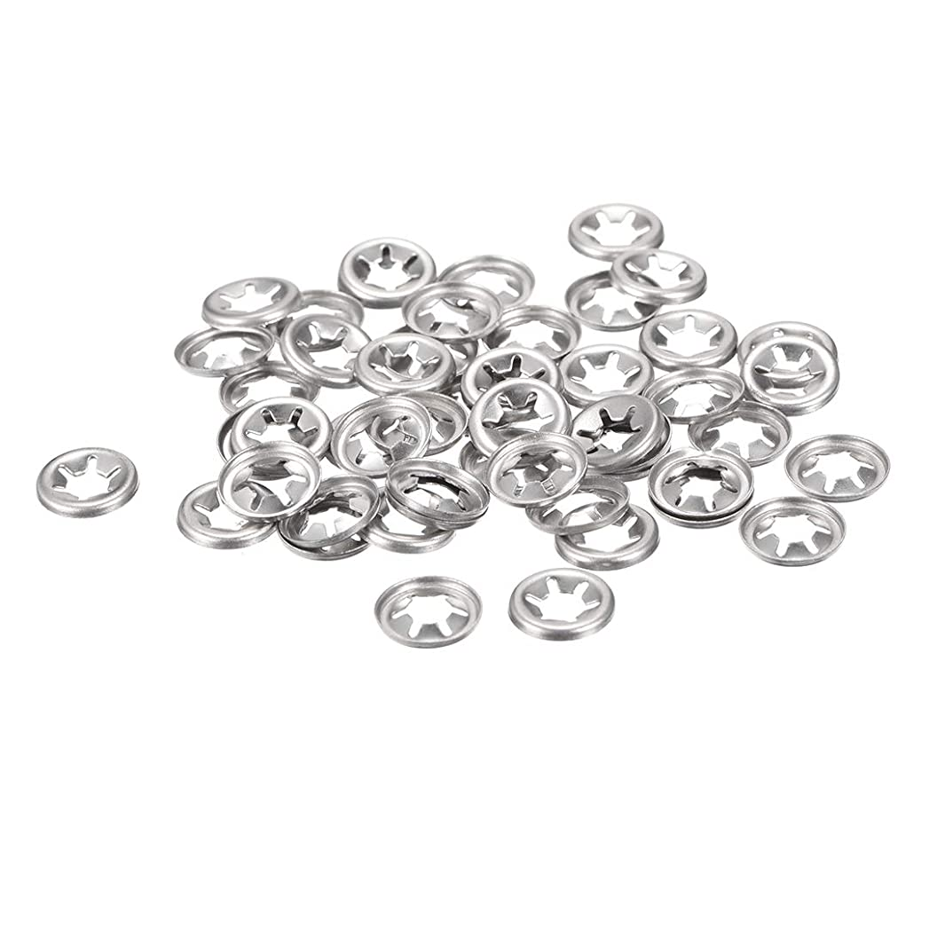 uxcell M5 Starlock Washer 4.6mm I.D. 12mm O.D. Internal Tooth Lock Washers Push On Locking Speed Clip, 304 Stainless Steel (Pack of 50)