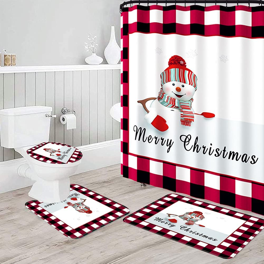 Max 45% OFF Christmas Shower Curtains Sets with Rugs 4 Bathroom for Max 81% OFF San Pcs