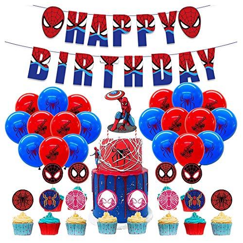 Decoracion Cumpleaños Spiderman Globos Spiderman Pancartas Cumpleaños Spiderman Adornos de Pastel Fiesta Superhéroe