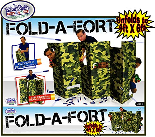 Matty's Toy Stop Fold-A-Fort Corrugated Cardboard Defensive Barrier Wall with Cutouts for Nerf, Laser Tag & More (Unfolds to 4'x6')