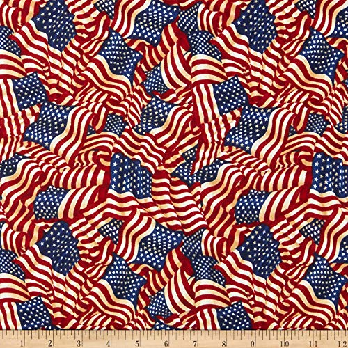 Fabri-Quilt American Pride Wavy Flag Antique Quilt Fabric By The Yard, Antique