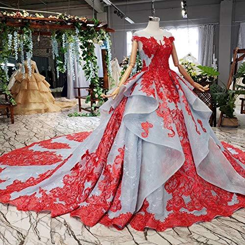BINGQZ Noche Vestidos/Vestido de Gala de Encaje Rojo Vestido de Noche de Manga Corta con Cuello o Cuello Gris Vestido de Fiesta Largo Celeste
