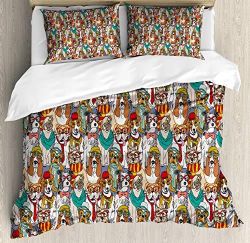 Juego de funda nórdica para perros, Hipster Bulldog Schnauzer Pug Razas con gafas Sombreros Patrón de bufanda Dibujos animados coloridos, Juego de cama decorativo de 3 piezas con 2 fundas de almohada,