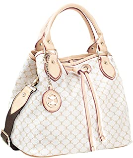 Leather Accents Drawstring Tote Shoulder Bucket Handbags for Women